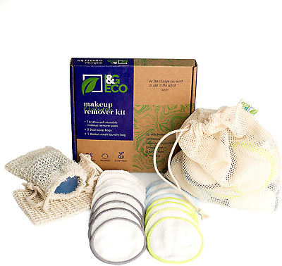 Reusable Make Up Remover Pads -16 Natural Bamboo Pads +2 Sisal Soap Bags with -