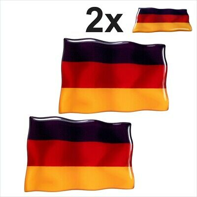 2x Germany Deutschland flags Square 3D Domed Gel STICKER Resin Decal Badge 75x50