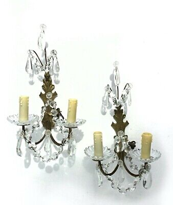 French antique Girondole Crystal glass faceted drops bronze Wall Lights Sconces