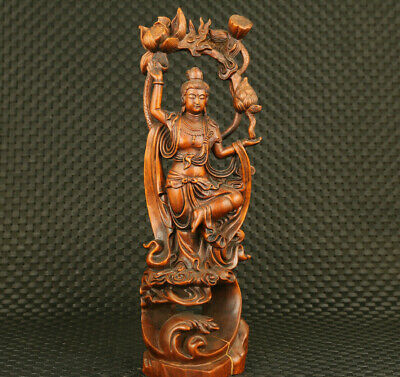 rare Chinese old boxwood hand carved guanyin pray statue noble decorate gift
