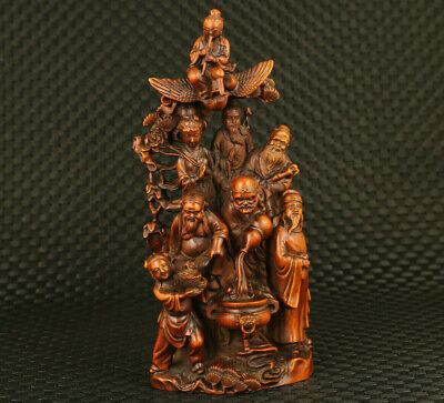 rare asian old boxwood hand engrave Eight Immortals statue table decoration gift