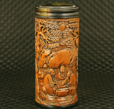 unique boxwood hand engrave old man play chess statue tea caddy home decorate