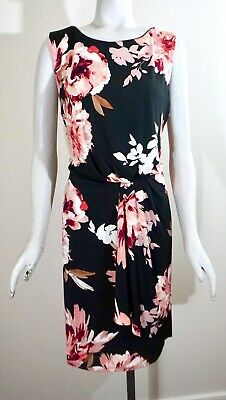 NWT White House Black Market Reversible Draped Knit Sheath Dress, Black/Rhubarb