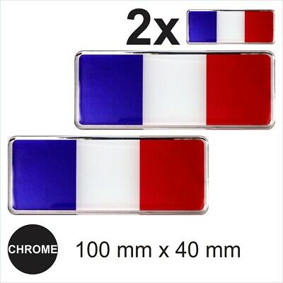 2x France French flags 3D Chrome Sticker Car Domed Resin Side Badge Emblem Decal