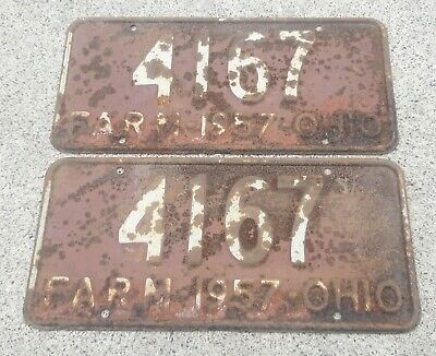 Ohio state 1957 FARM License Plate set pair lot 2 #4169 rusty country john deere