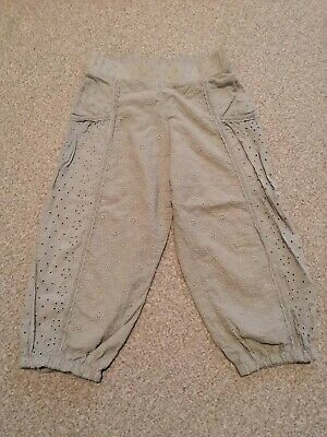 Next Girls Khaki Cropped Linen Trousers 4-5 Years Floral