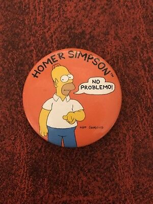 Homer Simpson No Problemo Pinback Button The Simpsons Pin Matt Groening 1-1/2""