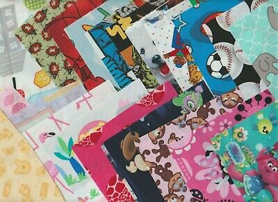 "100 pk.Cotton Quilting Fabric Scrappy Charm pack 5"" squares KIDS Assorted prints"
