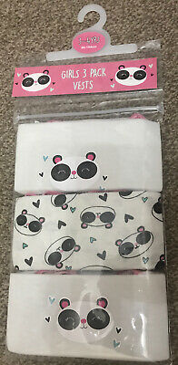 Girls 3 Pack Panda Vests Age 3-4 Years Old Panda Gift Present Back To School