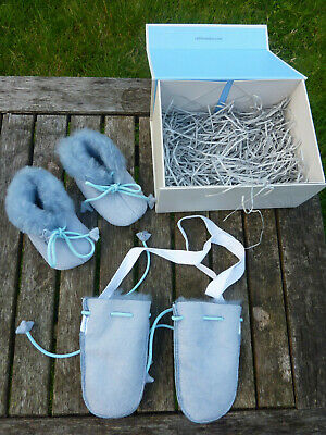 Celtic & Co, sheepskin, blue baby booties & mittens, boxed gift set NEW