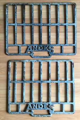 Old Vtg Antique Andes Wood Stove Grate Cast Iron Oven Part Metal Lot Of 2