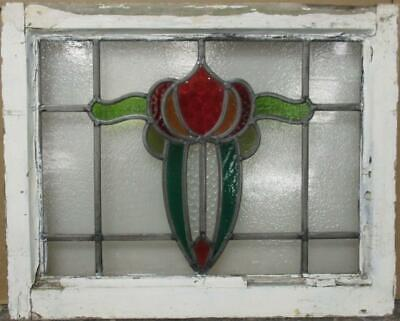 "MIDSIZE OLD ENGLISH LEADED STAINED GLASS WINDOW Vibrant Abstract 22.5"" x 18"""