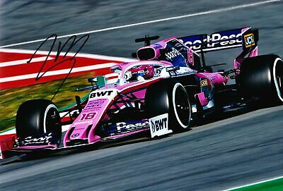 Lance Stroll SIGNED 12X8 Photo Racing Point  AFTAL COA (A)