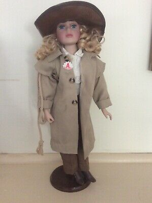 Australian Anzac Soldier Porcelain Doll Female With Akubra Trench Coat Lanyards