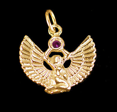 LOOK New Egyptian goddess Egypt Jewelry WINGED ISIS Ruby Gold vermeil Charm Pend