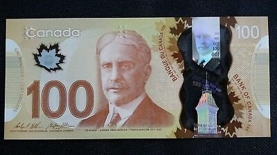 CANADA $100 Dollars 2016 P110 Wilkins/Poloz UNC Polymer Banknote