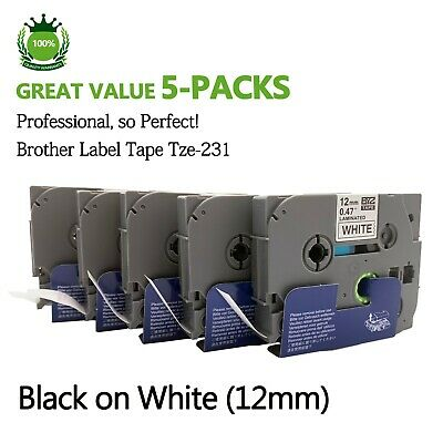 5PK Replace Brother TZe-231 Laminated Labelling Tape Cassette Black on White12mm