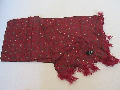 Vintage  Rayon TOOTAL SCARF Ascot Dapper Mod Indie RED  PAISLEY