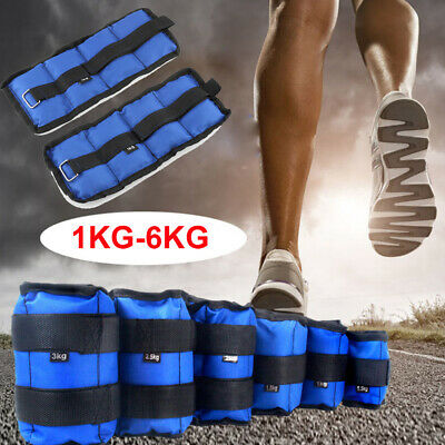 1-6kg Ankle Weights Strap Leg Wrist Running Boxing Bracelet Gym Yoga Workout UK