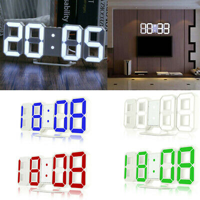 Large 3D Digital LED Table Wall Clock Snooze Desk Alarm Clock Brightness Dimmer