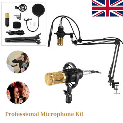NEW BM-800 Condenser Microphone Kit with Arm Stand Shock Mount Pop Filter UK
