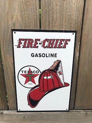 Texaco Fire Chief Gasoline metal sign baked Oil Gas Pump Plate 18 Inch