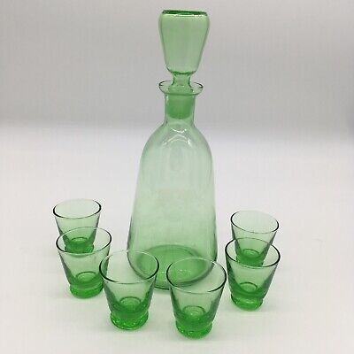 Vintage Green Gass Decanter With 6 Matching Shot Glasses Home Bar Decor