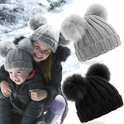 Infant Baby Toddler Kids Faux Fur Double Pom Pom Beanie heavy ribbed knit Hat