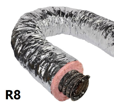 "Flexible Duct 8"" R8 25' Green Bag"