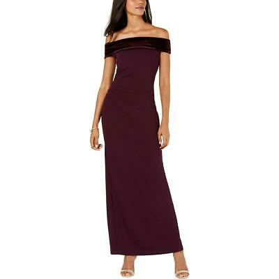 Vince Camuto Womens Off-The-Shoulder Velvet Trim Formal Dress Gown BHFO 1960