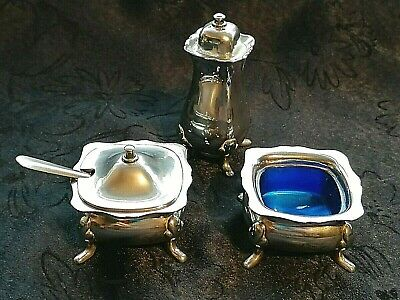 VINTAGE SILVER PLATED GRENADIER SALT, PEPPER & MUSTARD CRUET SET MADE in ENGLAND