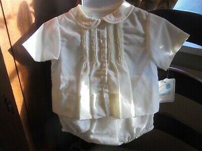 NWT Petit Ami Maize Multi Smocked Daygown 2PC Newborn Baby Girls Bishop Dress