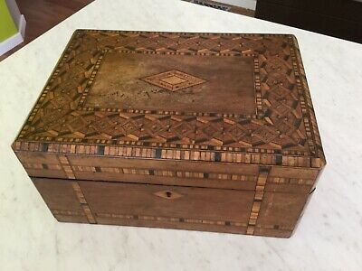 ANTIQUE Victorian WOODEN MARQUETRY INLAY BOX Excellent Condition