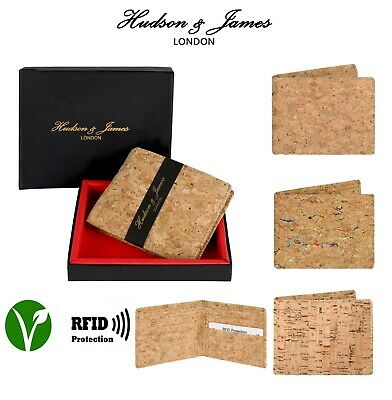 Mens Designer Cork Vegan Leather RFID Blocking Shield Card Holder Note Wallet