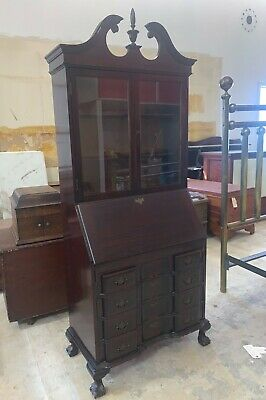 Antique Mahogany Governor Winthrop Drop Front Secretary Desk by Maddox & Key