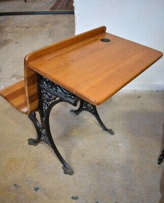 Antique Restored Primitive Child's School Desk Iron Base & Fold Up Seat