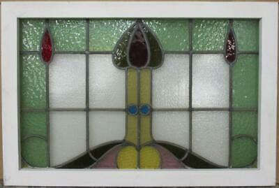 "EDWARDIAN ENGLISH LEADED STAINED GLASS WINDOW Stunning Abstract 30.25"" x 20.25"""