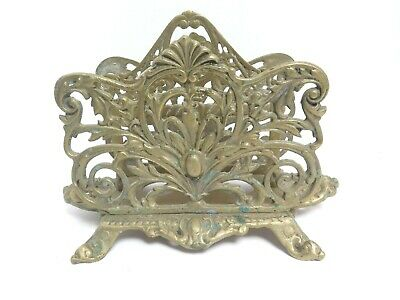 Old Antique Heavy Solid Brass Ornate English Footed LETTER HOLDER NAPKIN HOLDER