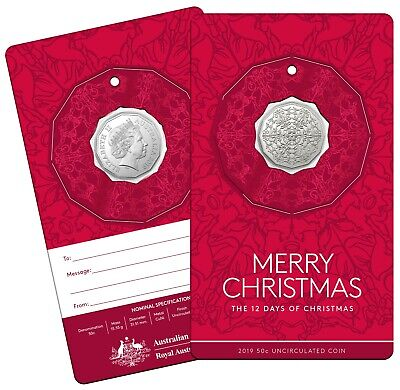 Australia 2019 The Twelve Days of Christmas Carols 50c UNC Coin Decoration Red