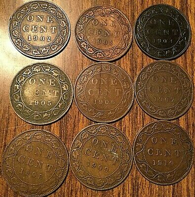 1902 To 1910 Canada Large Cents Complete Set Of Edward Vii Penny (9 Coins)