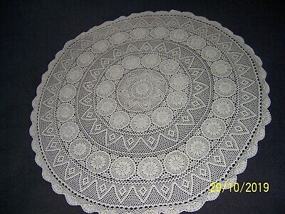 vintage crochet round table cloth  126 wide all round