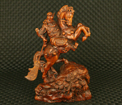 Hero chinese old boxwood hand carved guan gong statue netsuke home decoration