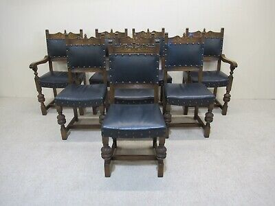Set Of 8 Old Charm Dining Chairs Inc 2 Carvers Antique Oak Leather Seats