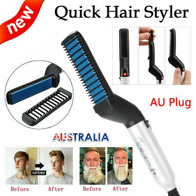 Quick Beard Straightener Hair Styler Multifunctional Comb Curler Show Cap Men HS