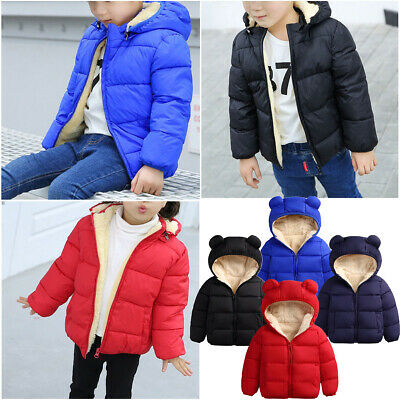 AU Toddler Kids Baby Girls Boys Clothes Warm Coats Jackets Hooded Outerwear 0-3Y