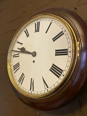 Large 15 inch Walnut school or railway clock In full working order.