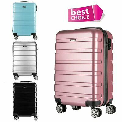 Hand Luggage Hard Shell Suitcase 4 Wheel Trolley Case Bag Ryanair Cabin Approved
