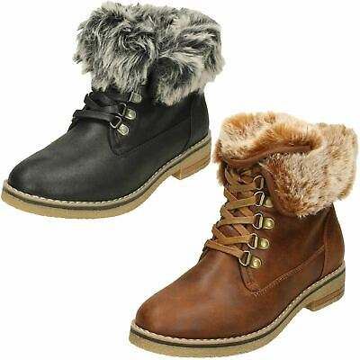 Ladies Down To Earth Fur Collar Lace Up Ankle Boots