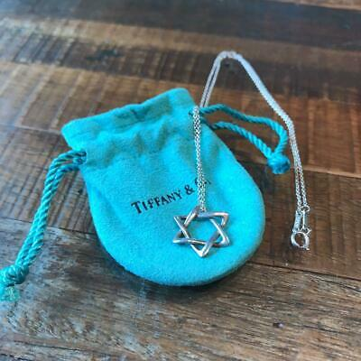Tiffany & Co. Authentic Star of David Sterling Silver 925 Pendant Chain Necklace