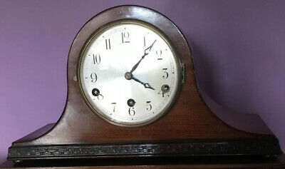Antique Westminster Chime Mantel Clock Napoleon Hat Style Working Key DRP Isgus